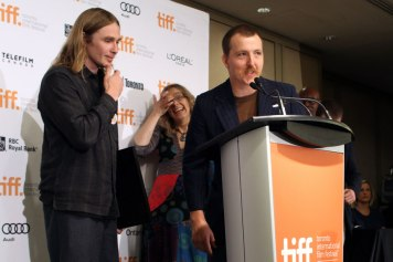The directors of Asphalt Watches accept the award for Best Canadian First Feature Film