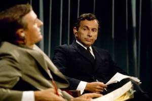 William F. Buckley Jr. and Gore Vidal in BEST OF ENEMIES, a Video Services Corp. Photo courtesy of Video Services Corp.