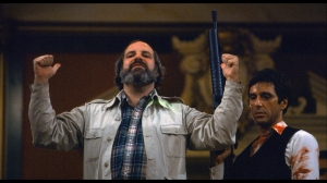 Brian De Palma and Al Pacino on set of SCARFACE as seen in DE PALMA