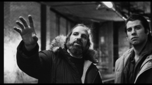 Brian De Palma and John Travolta on set of BLOW OUT as seen in DE PALMA