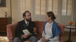 Higginson (Brett Gelman) takes a knife to Emily's (Molly Shannon) poems – WILD NIGHTS WITH EMILY – Courtesy of GreenwichEntertainment